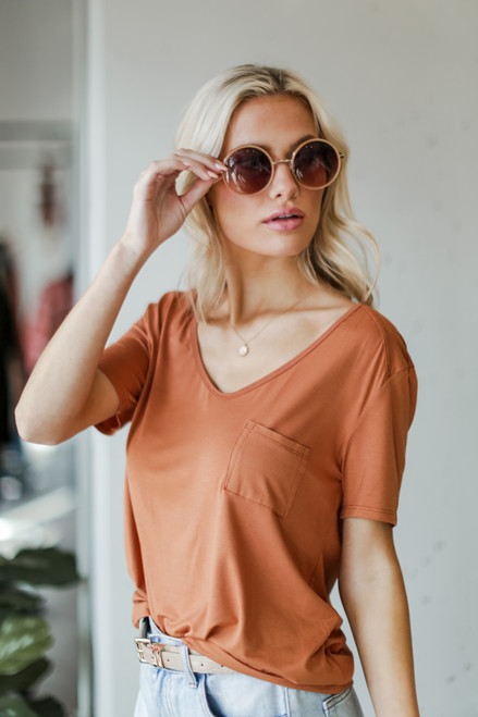 Rust - Dress Up model wearing a Basic Front Pocket Tee with sunglasses