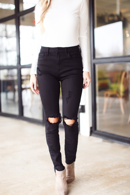 Black - Distressed Skinny Jeans