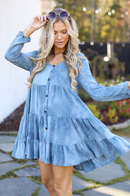 Denim - Tie-Dye Tiered Dress