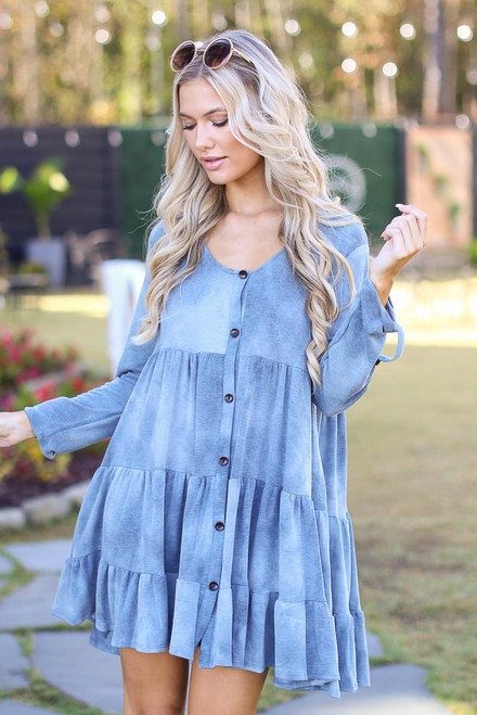 Denim - Tie-Dye Tiered Dress from Dress Up