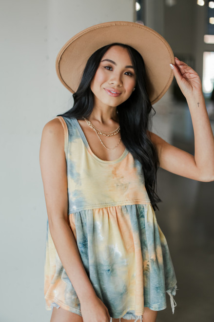 Yellow - Model wearing a Tie-Dye Babydoll Tank