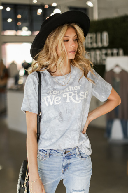 Light Blue - Together We Rise Graphic Tee Side View