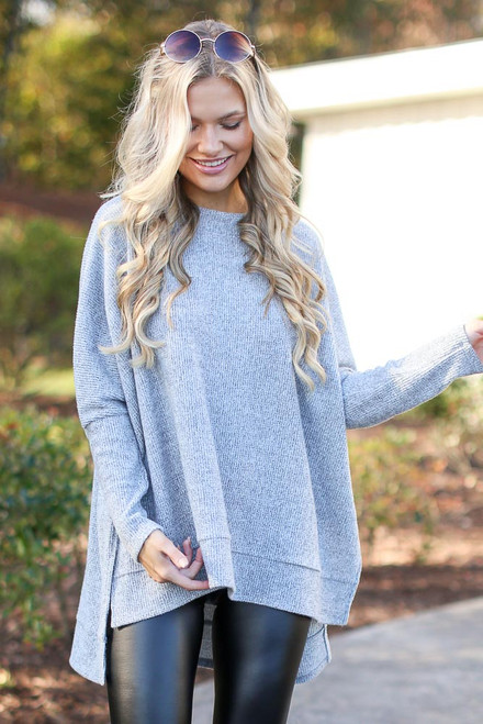 Heather Grey - Oversized Brushed Knit Sweater