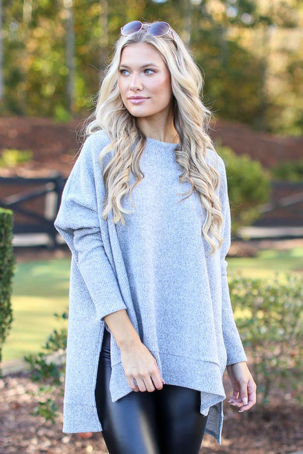 Heather Grey - Oversized Brushed Knit Sweater from Dress Up