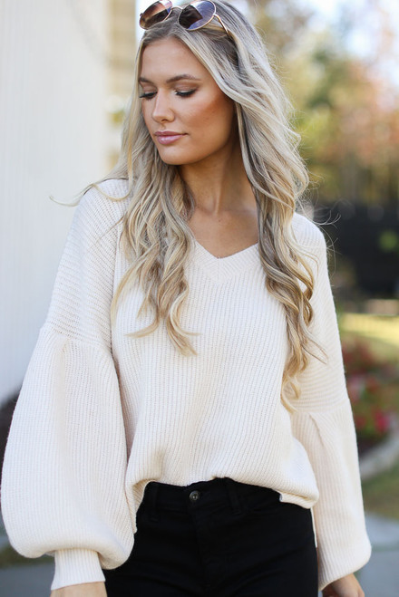 Ivory - Balloon Sleeve Sweater