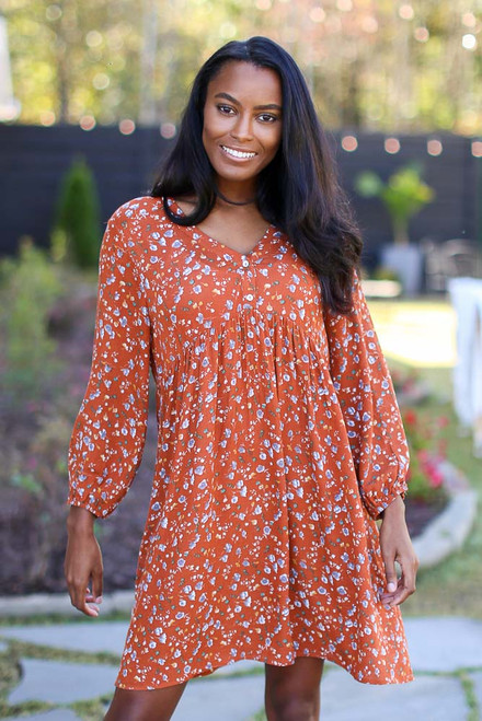 Rust - Floral Babydoll Dress