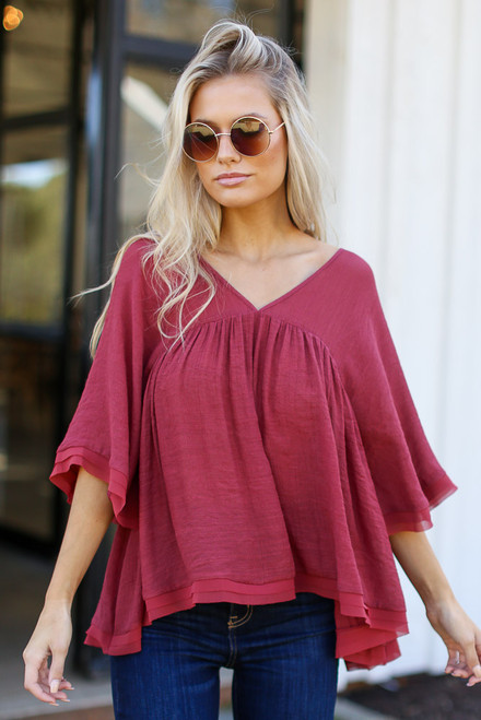 Wine - Babydoll Blouse