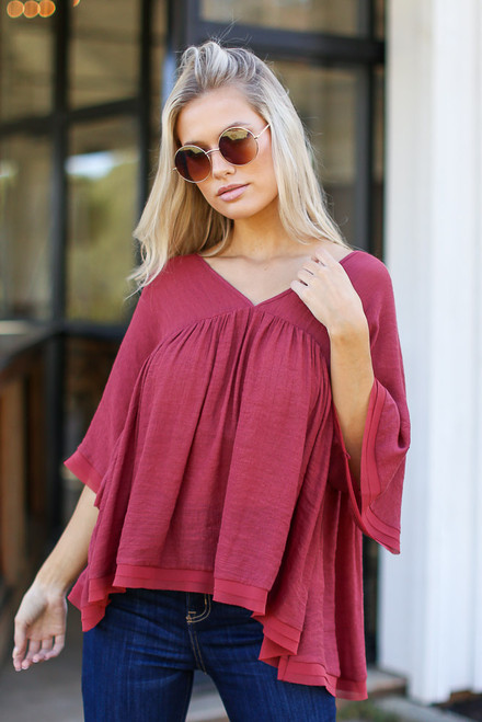 Wine - Babydoll Blouse from Dress Up