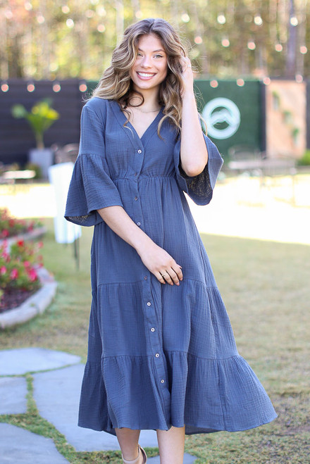 Navy - Linen Button Front Midi Dress