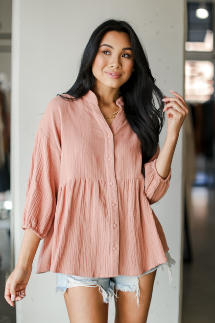 Blush - Linen Babydoll Blouse from Dress Up