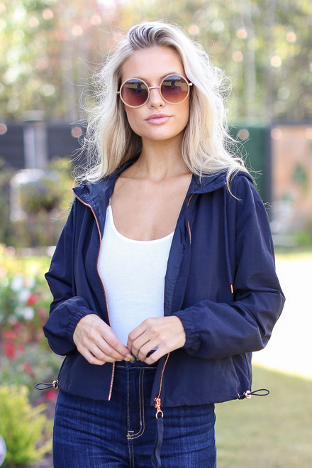 Navy - Model wearing a Hooded Windbreaker Jacket