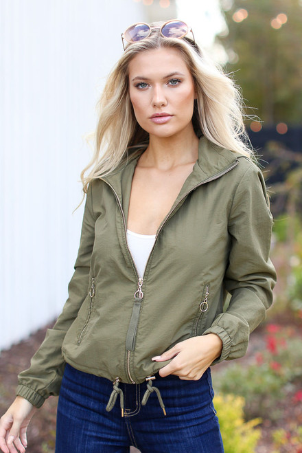 Olive - Hooded Windbreaker Jacket