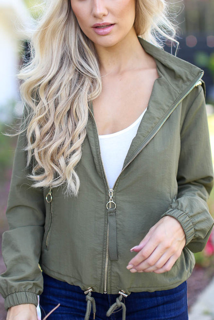 Olive - Hooded Windbreaker Jacket from Dress Up
