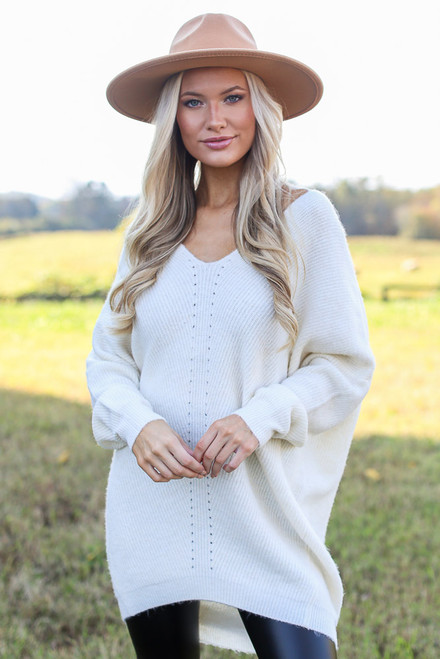 Ivory - Oversized Brushed Knit Sweater