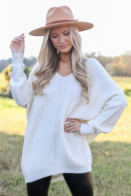 Ivory - Oversized Brushed Knit Sweater from Dress Up