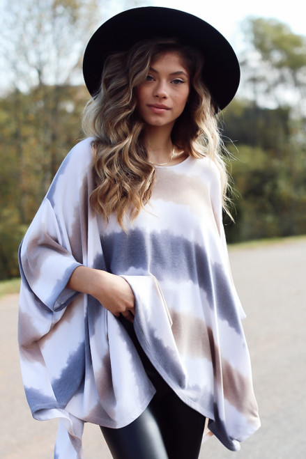 Charcoal - Oversized Tie-Dye Top