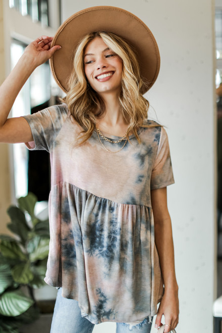 Charcoal - Tie-Dye Babydoll Top from Dress Up