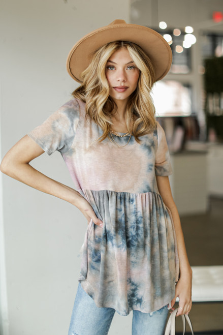 Charcoal - Tie-Dye Babydoll Top