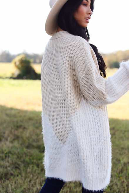Ivory - Fuzzy Knit Cardigan from Dress Up
