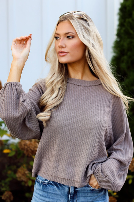 Taupe - Waffle Knit Top