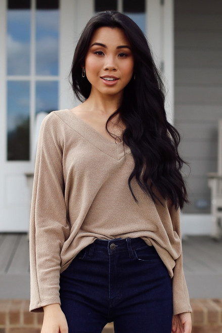 Taupe - Lightweight Knit Top