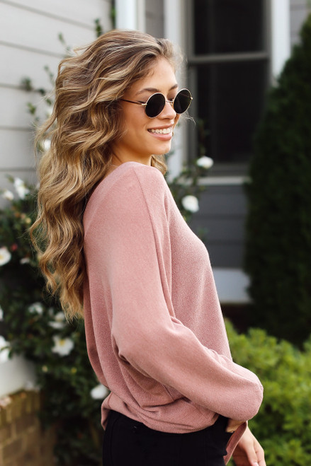 Mauve - Model wearing a Lightweight Knit Top with black jeans