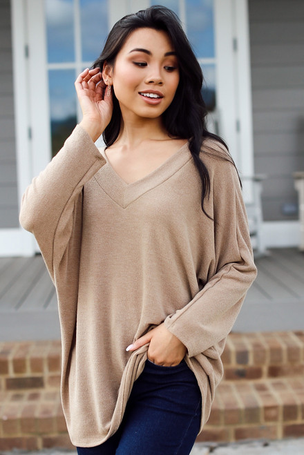 Taupe - Lightweight Knit Top from Dress Up