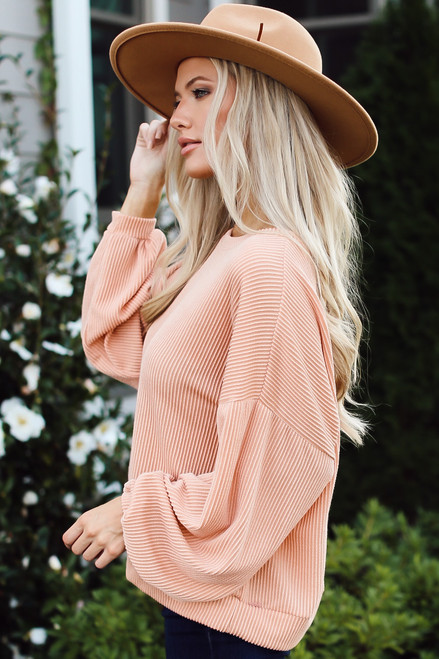 Blush - Ribbed Balloon Sleeve Pullover