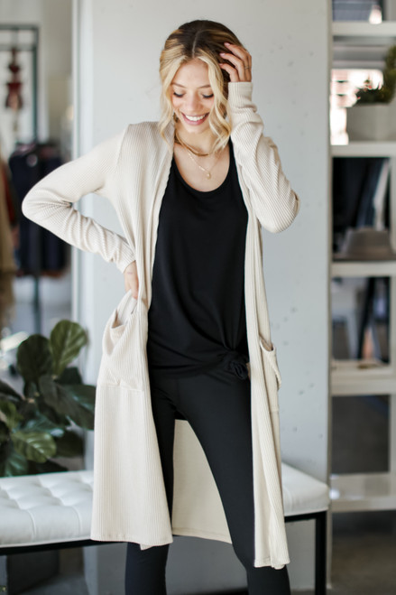Taupe - Ribbed Knit Duster Cardigan