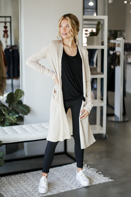 Taupe - Ribbed Knit Duster Cardigan from Dress Up