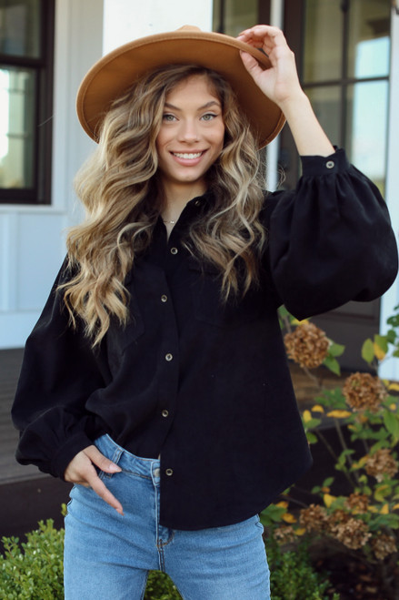 Black - Model wearing a Corduroy Button-Up Blouse