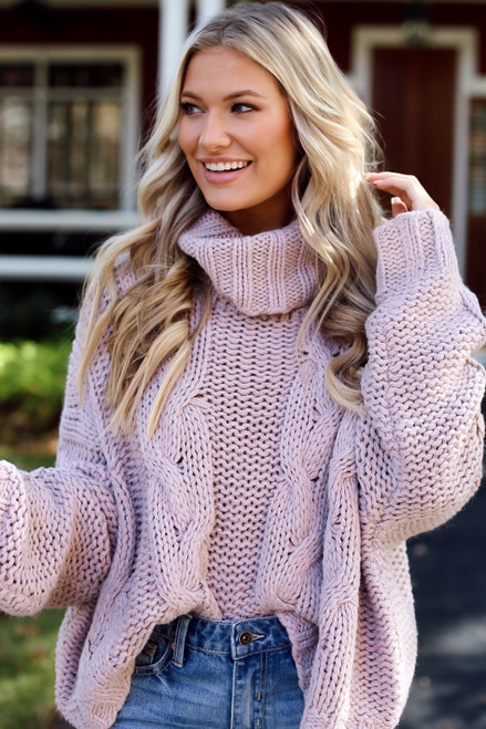 Blush - Oversized Cable Knit Sweater