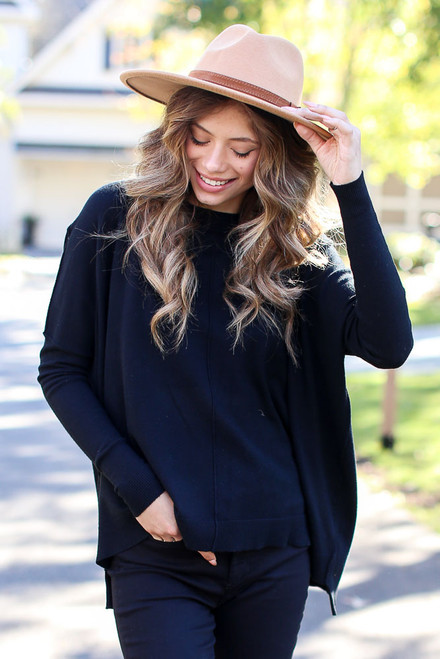 Black - Oversized Luxe Knit Sweater