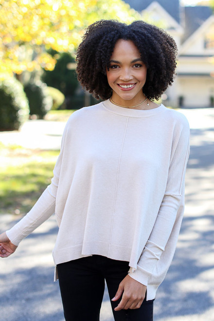 Ivory - Model wearing an Oversized Luxe Knit Sweater