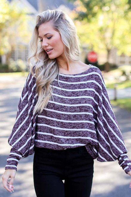 Burgundy - Dress Up model wearing an Oversized Striped Sweater