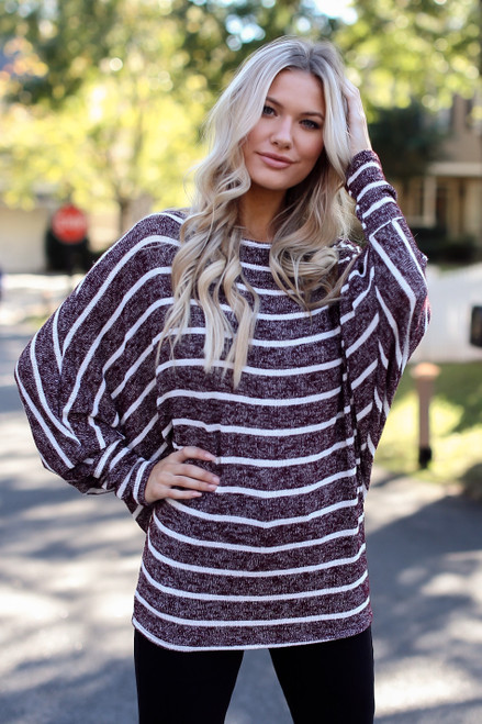 Burgundy - Oversized Striped Sweater