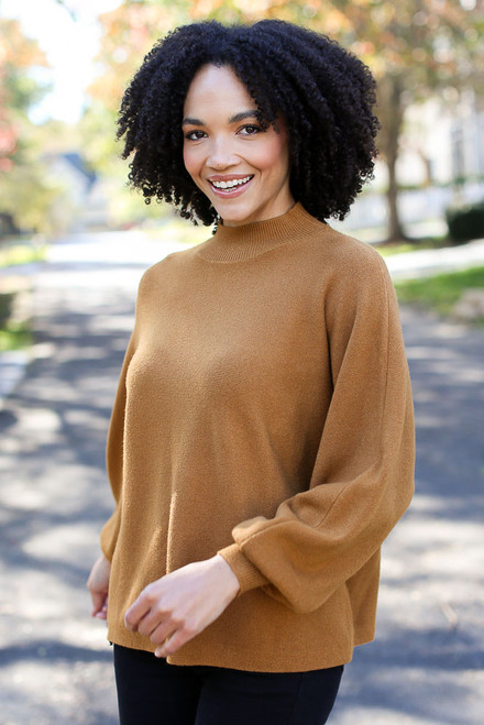 Camel - Dress Up model wearing a Luxe Knit Mock Neck Sweater with black jeans