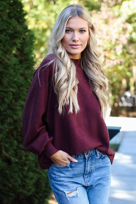 Wine - Luxe Knit Mock Neck Sweater Front View