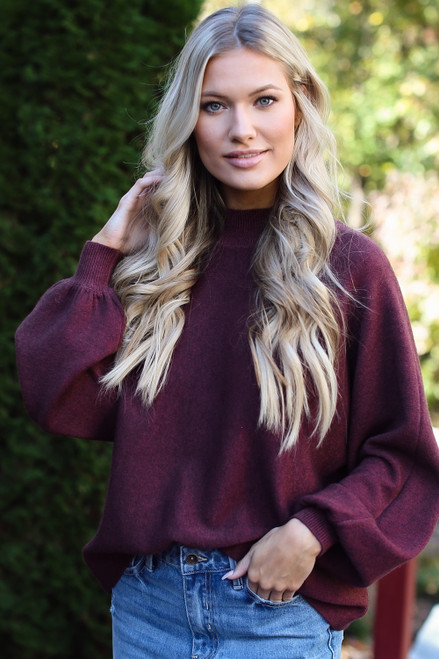 Wine - Luxe Knit Mock Neck Sweater from Dress Up