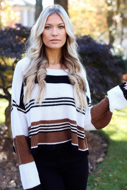 Camel - Striped Sweater