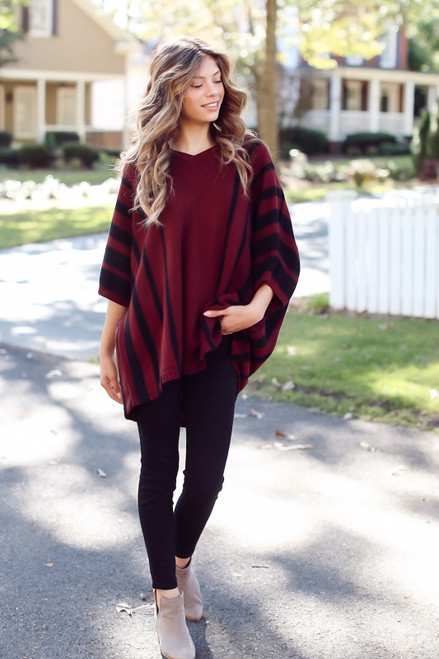 Burgundy - Oversized Striped Sweater Tunic from Dress Up
