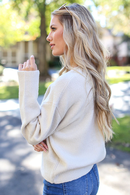 Ivory - Luxe Knit Sweater Side View