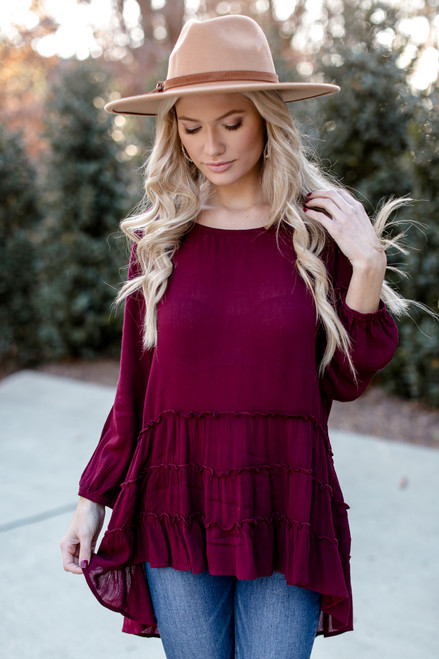 Burgundy - Tiered Tunic Blouse