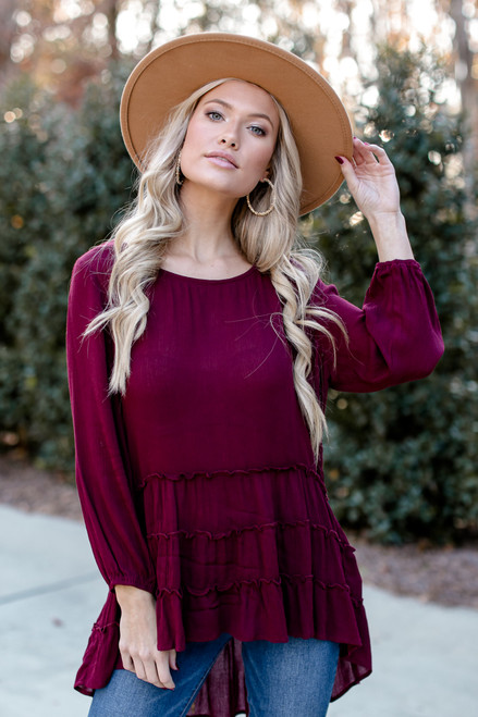 Burgundy - Tiered Tunic Blouse from Dress Up