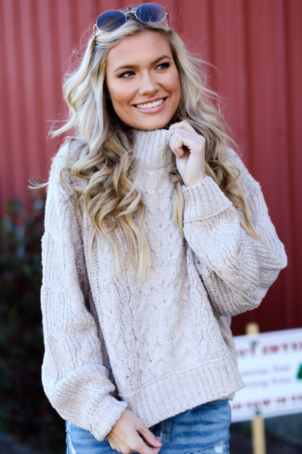 Taupe - Cable Knit Sweater