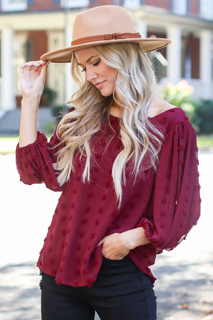 Burgundy - Swiss Dot Tie-Back Blouse