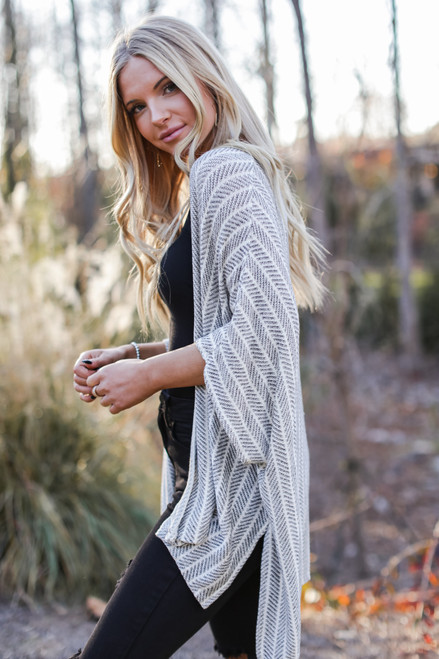 Ivory - Chevron Knit Kimono from Dress Up