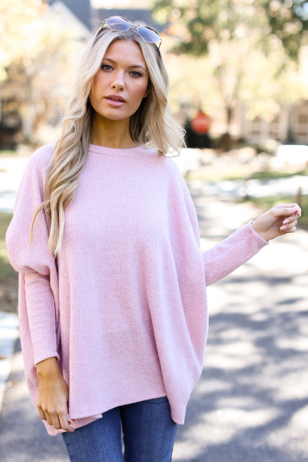 Pink - Oversized Brushed Knit Sweater