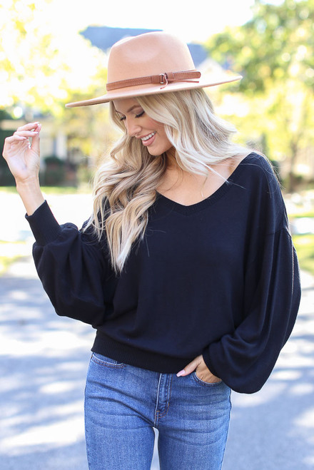 Black - Brushed Knit Top