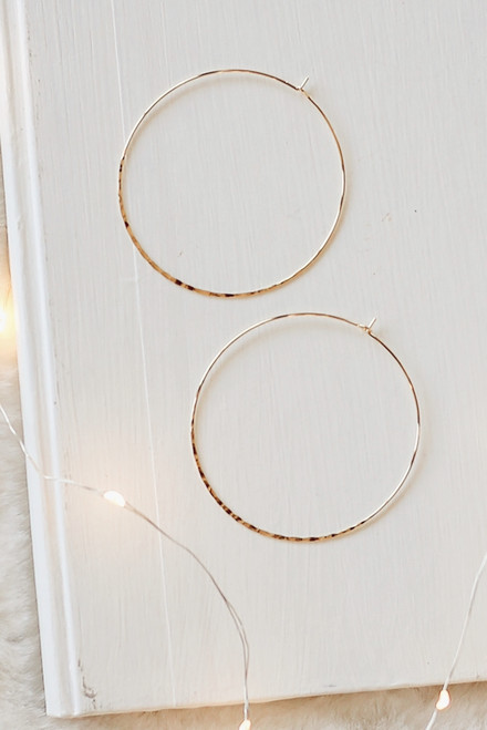 Gold - Hammered Hoop Earrings from Dress Up